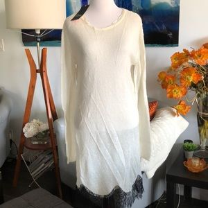 NWT. ZARA KNIT IVORY DRESS WITH BLACK LACE